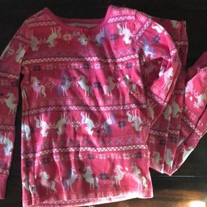 Gymboree Unicorn fair-isle two piece pajamas